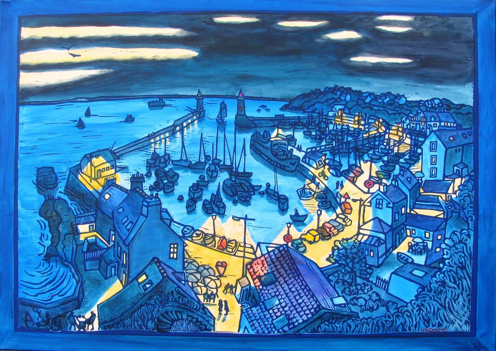 Port Tudy (Groix) at night, acrylc 100x140 cm
