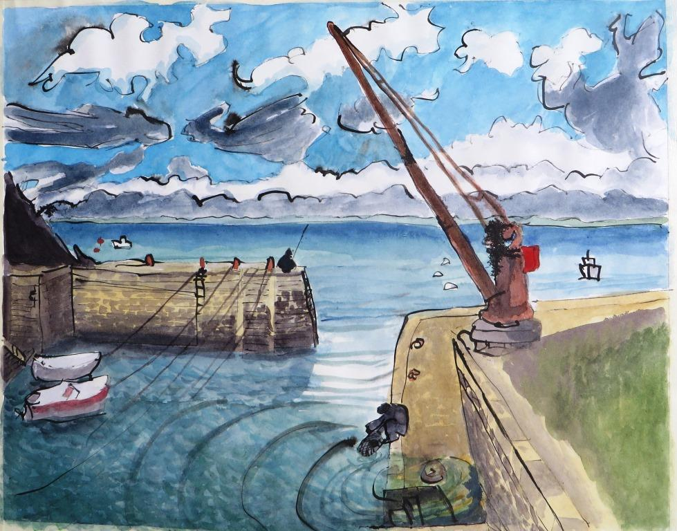 Port Lay, Groix, Rohrfeder, Aquarell