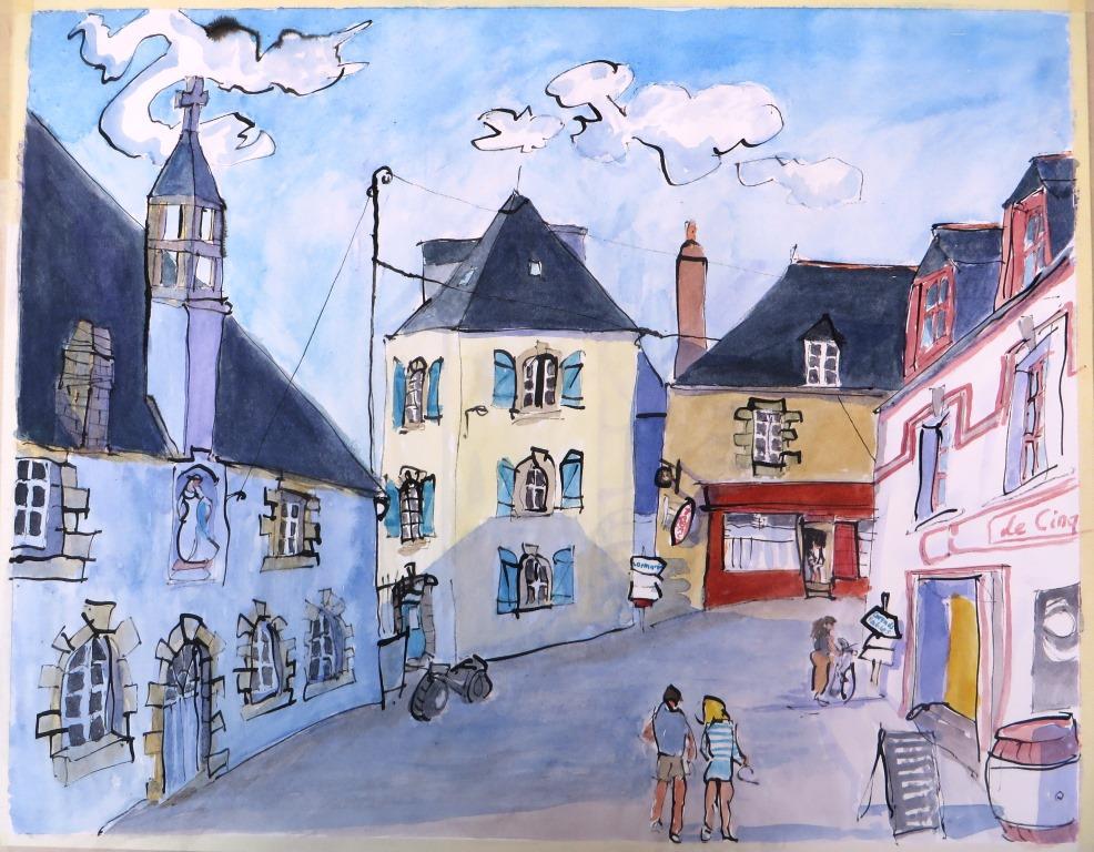 Groix, Le Bourg, Rohrfeder Aquarell