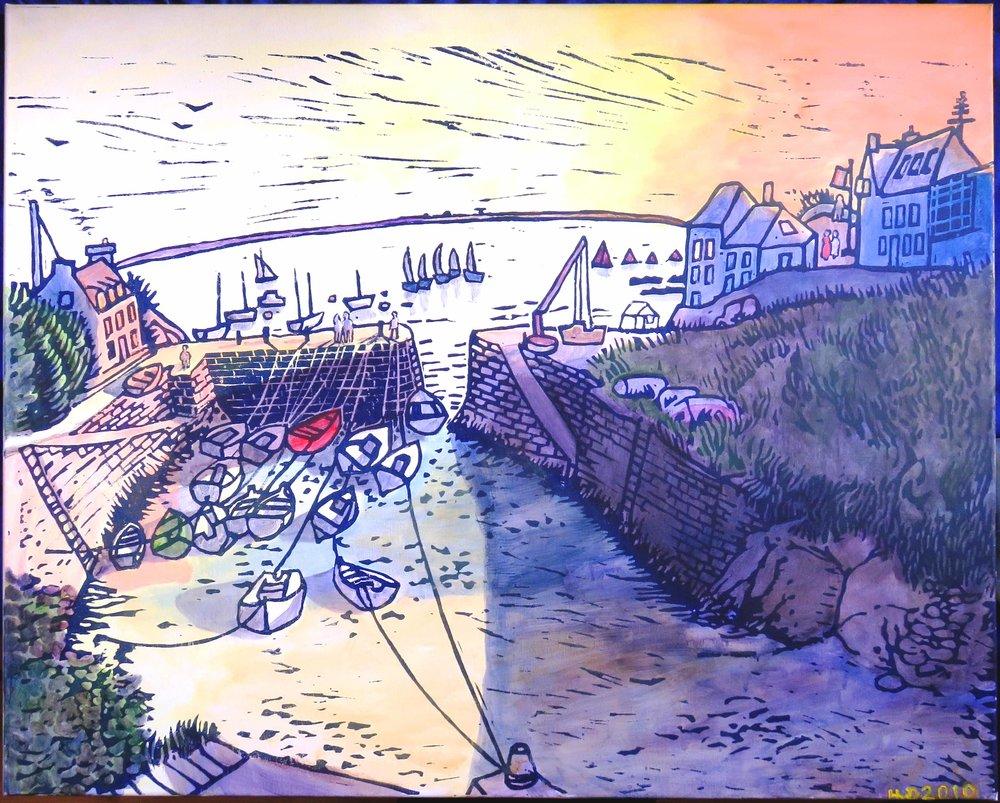 Port Lay, Groix, acrylic 80x100 cm