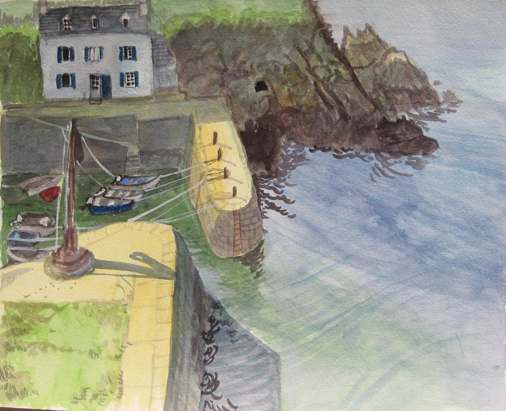 Port Lay, Groix, Aquarell