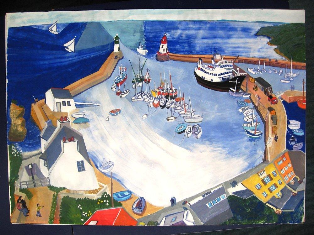 Port Tudy, Groix, Gouache