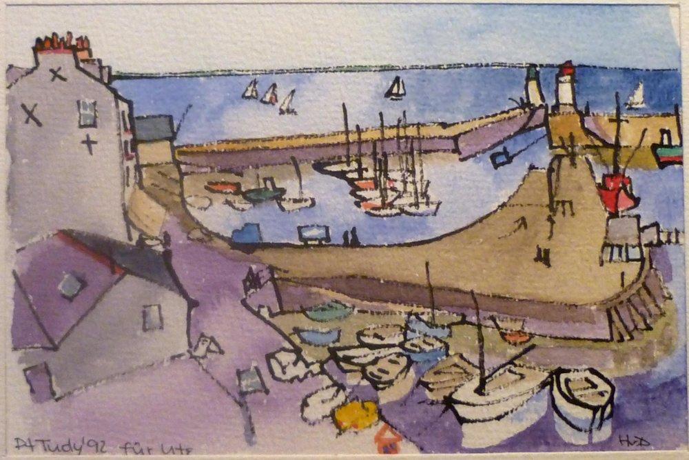 Port Tud<, Groix, Rohrfeder Aquarell