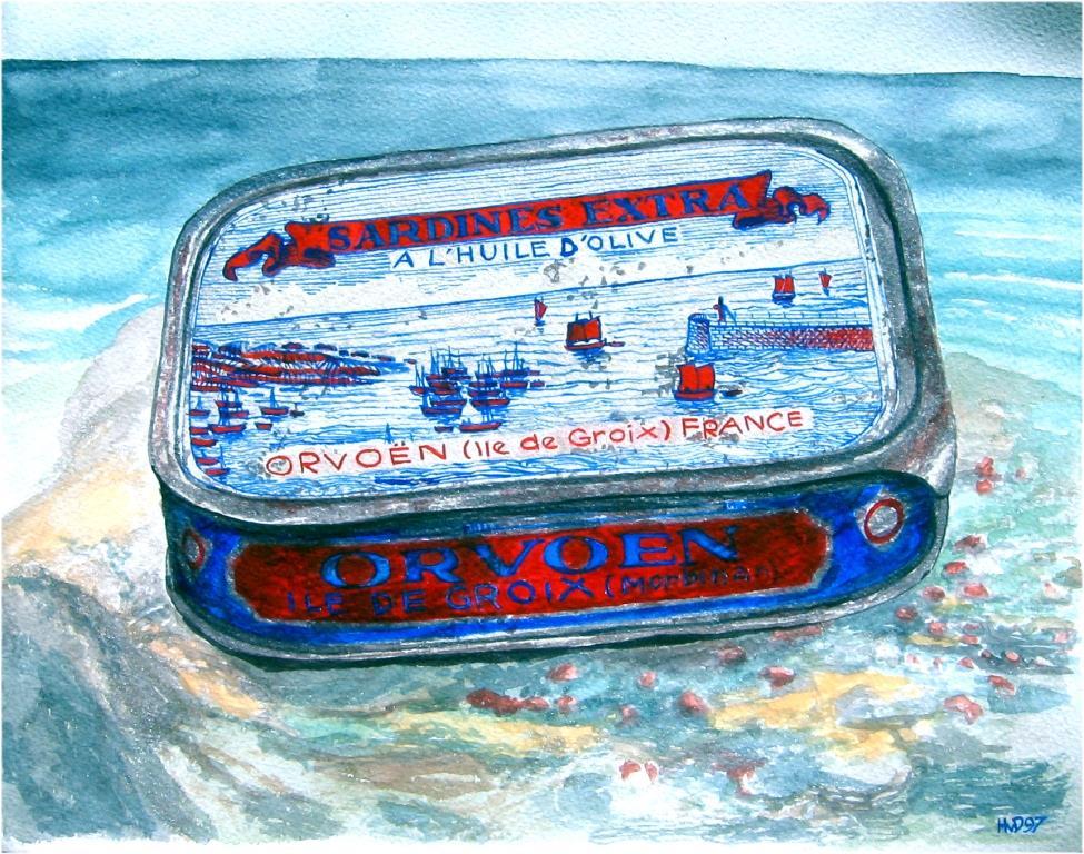 Sardinenbüchse, Groix, aquarell