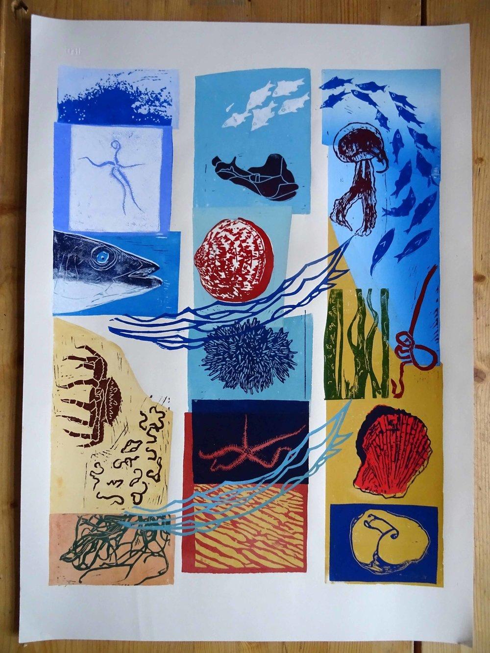 215 - Betes de la mer, 31-plate lino 60x45 cm, 200 €