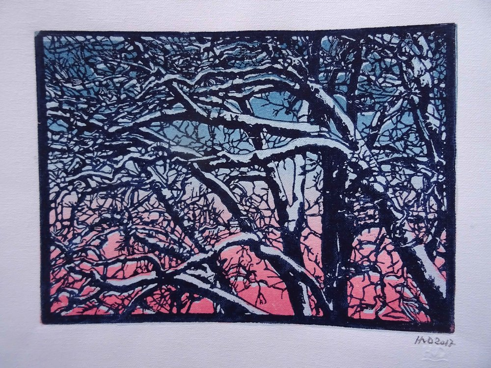 135 - winter trees, 3-plate lino 21x30 cm printd on canvas, 380 g, 80 €