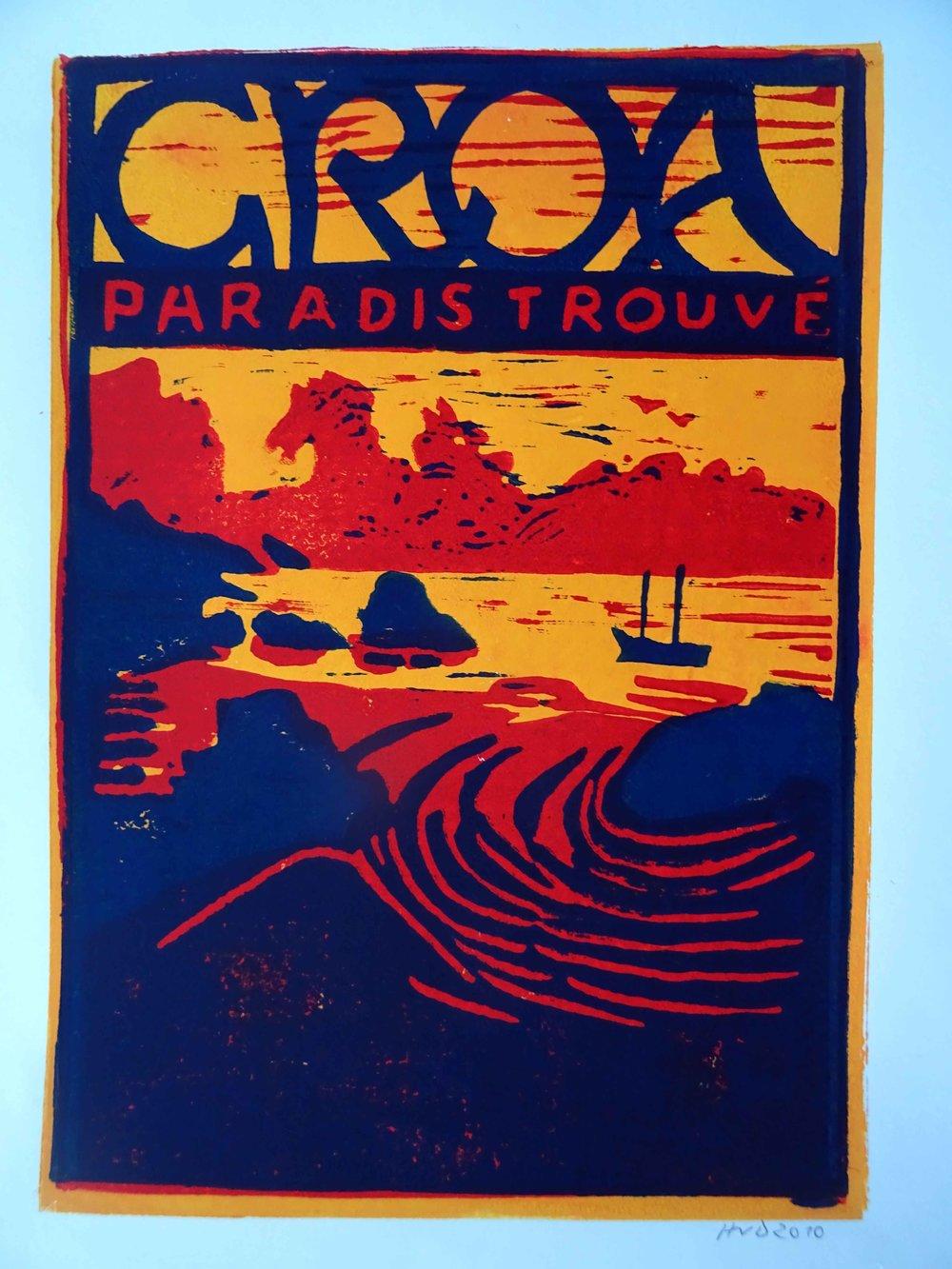 41 - Groa paradis trouvé, 3-plate lino 30x20cm, 80 €