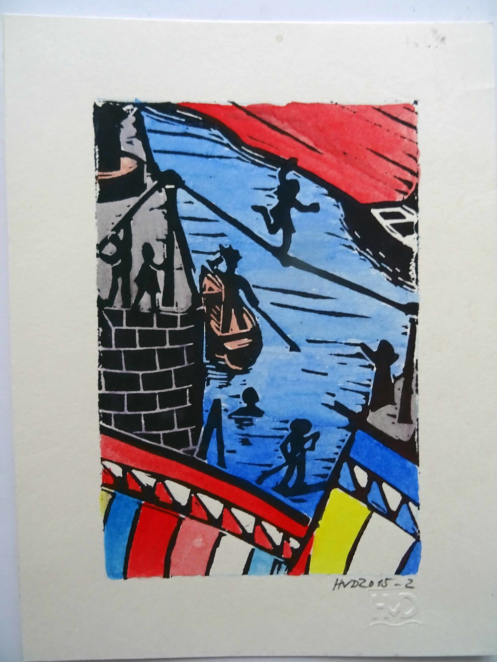 196A - funambule à Port Lay, coloured lino 15x10cm, 50 €