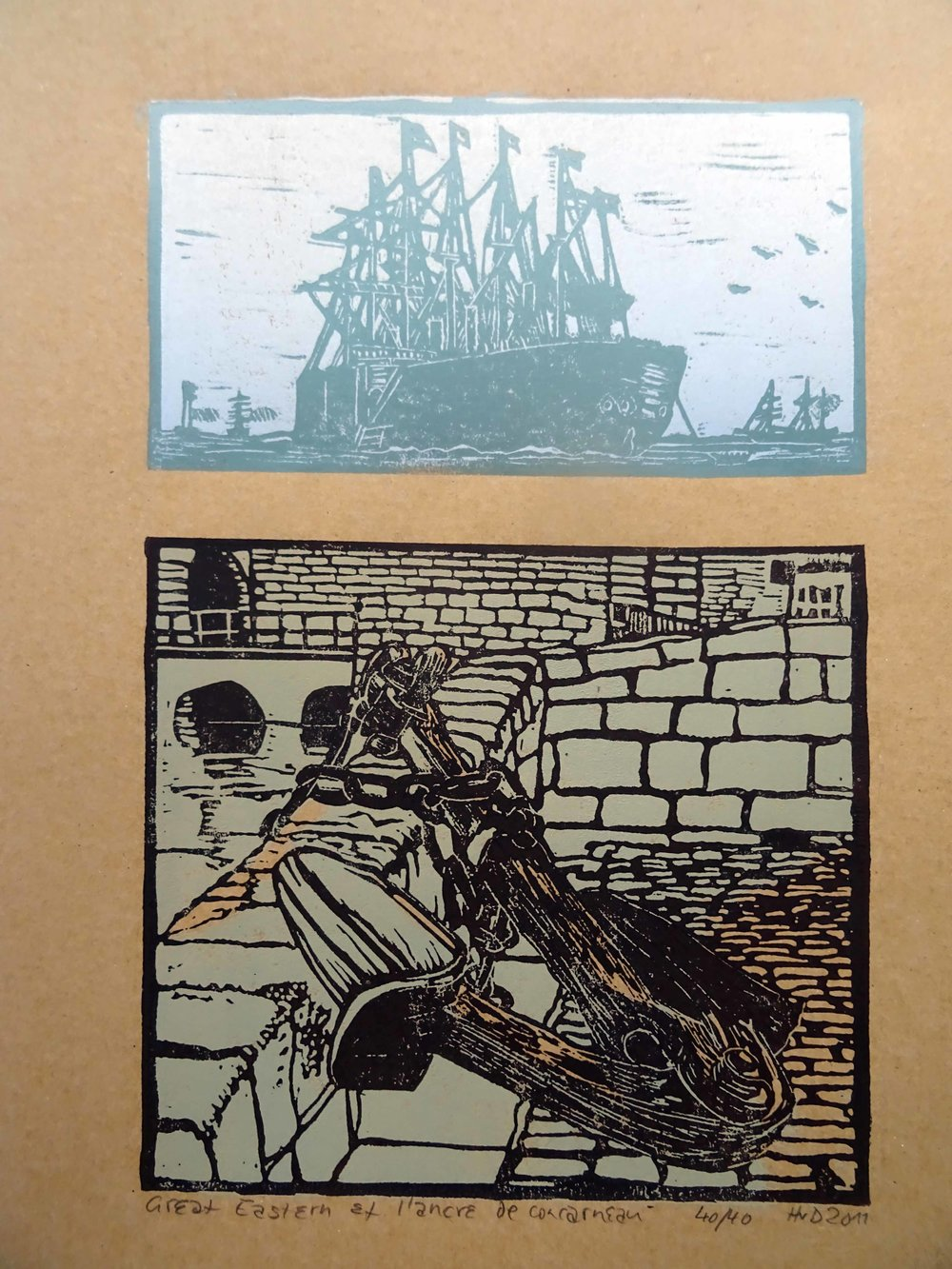 87 - Concarneau Ancre, Great Eastern, 2-plate lino 40x30cm, 100 €