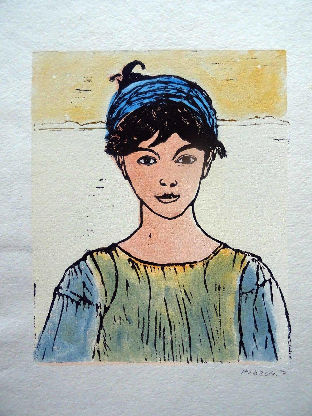 98 - fille de Concarneau, 2-plate lino 23,5x19 cm, 60 €