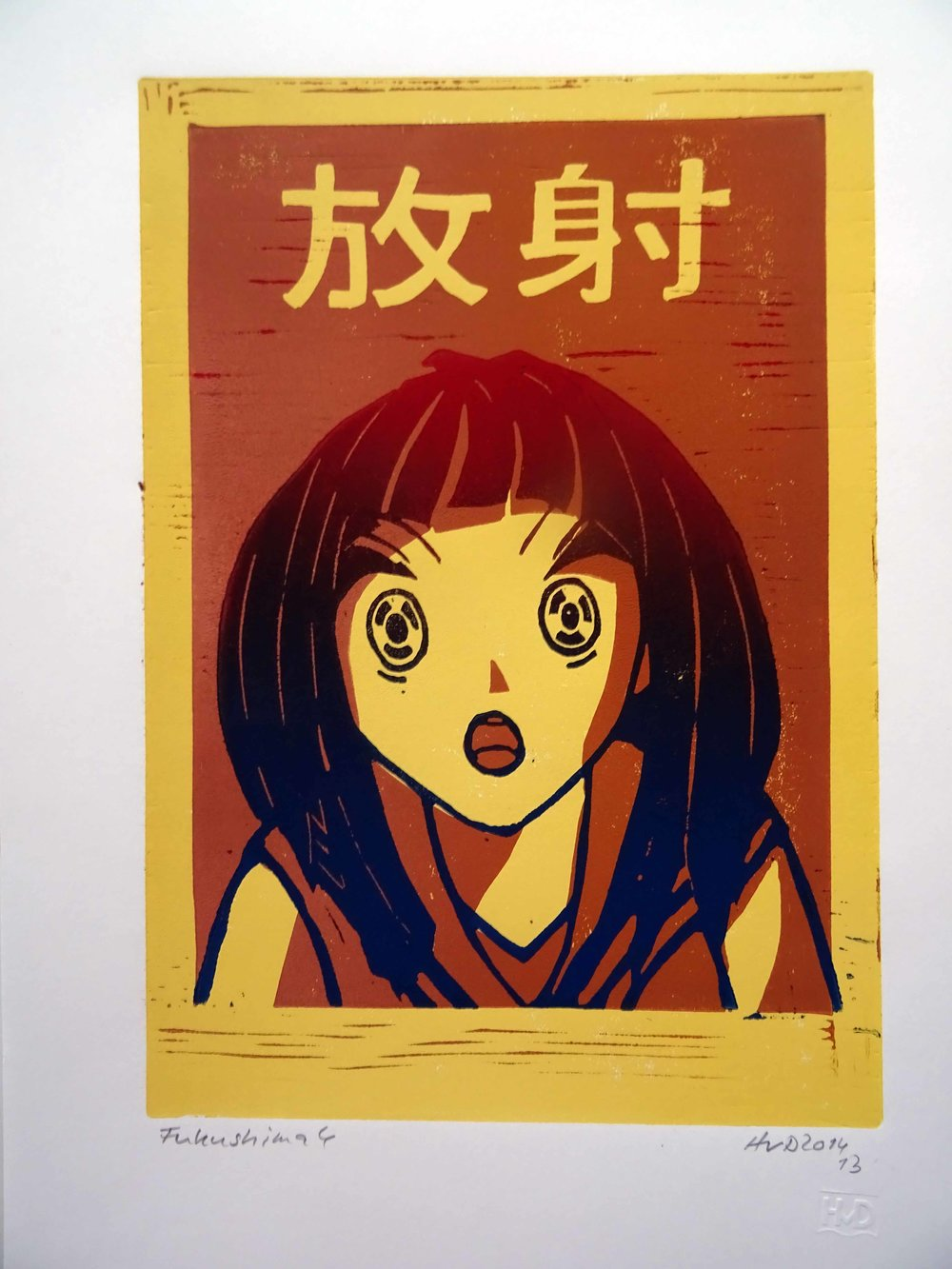 146 - Fukushima 4, radiation 3-plate lino 30x21 cm, 80 €