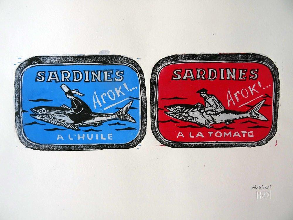 205-206 Sardines Arok! 2-plate lino 10,5x30 cm, 60 €