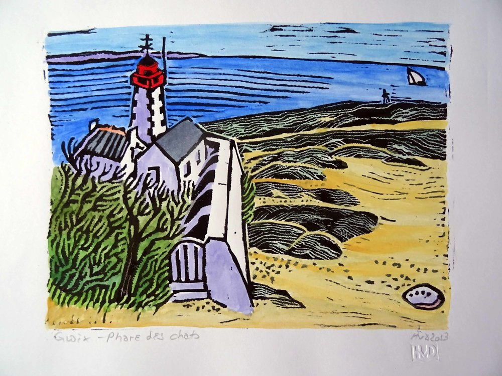 "56 - phare des chaTS; COLOURED LINO ""=X""( CM; &= €"