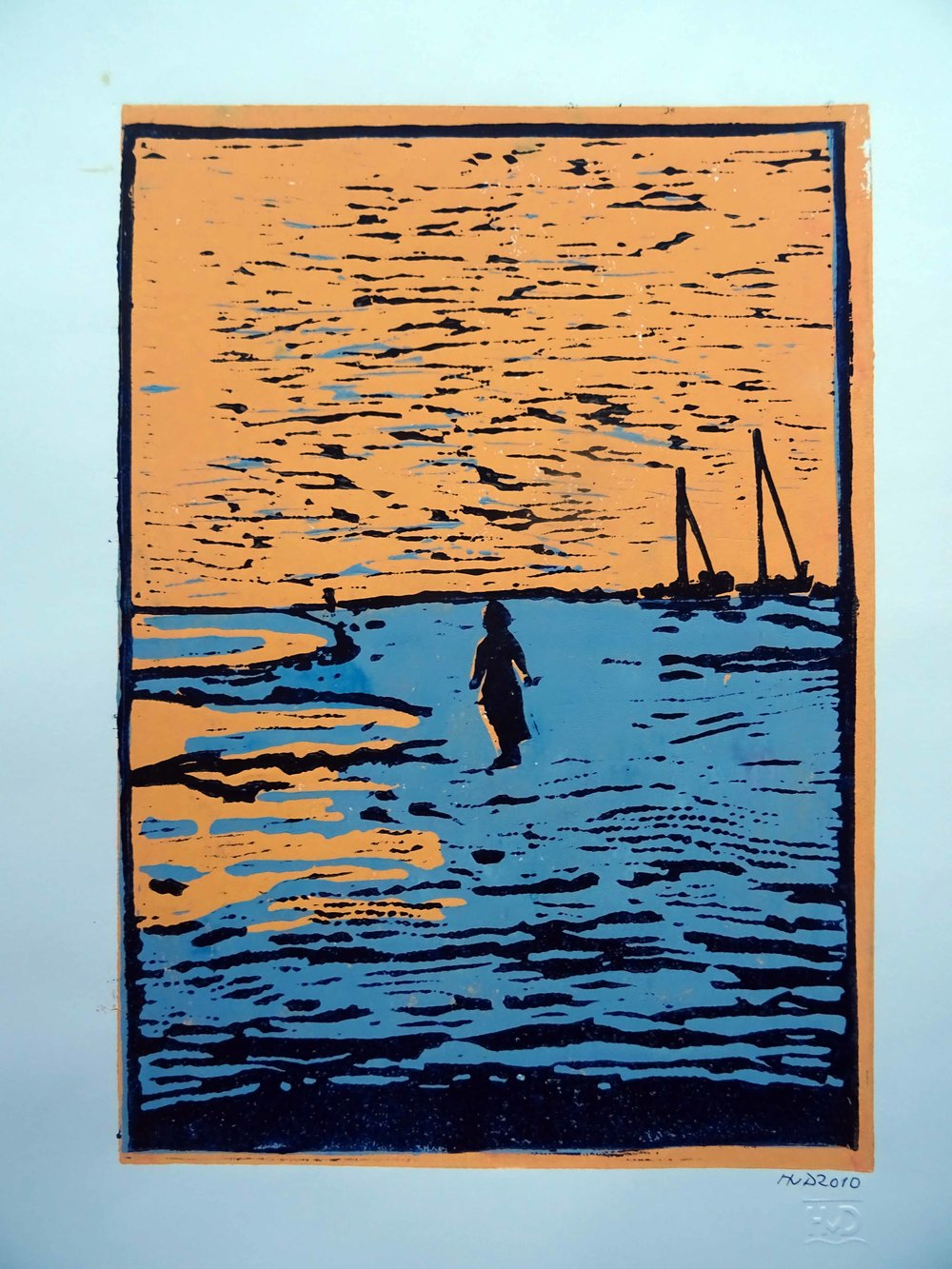 44 - Grands sables, 3-plate lino 30x21 cm, 80 €