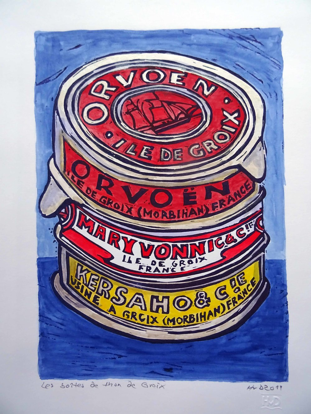 49 - tuna cans Orvoen, coloured lino 30x21 cm. 80 €