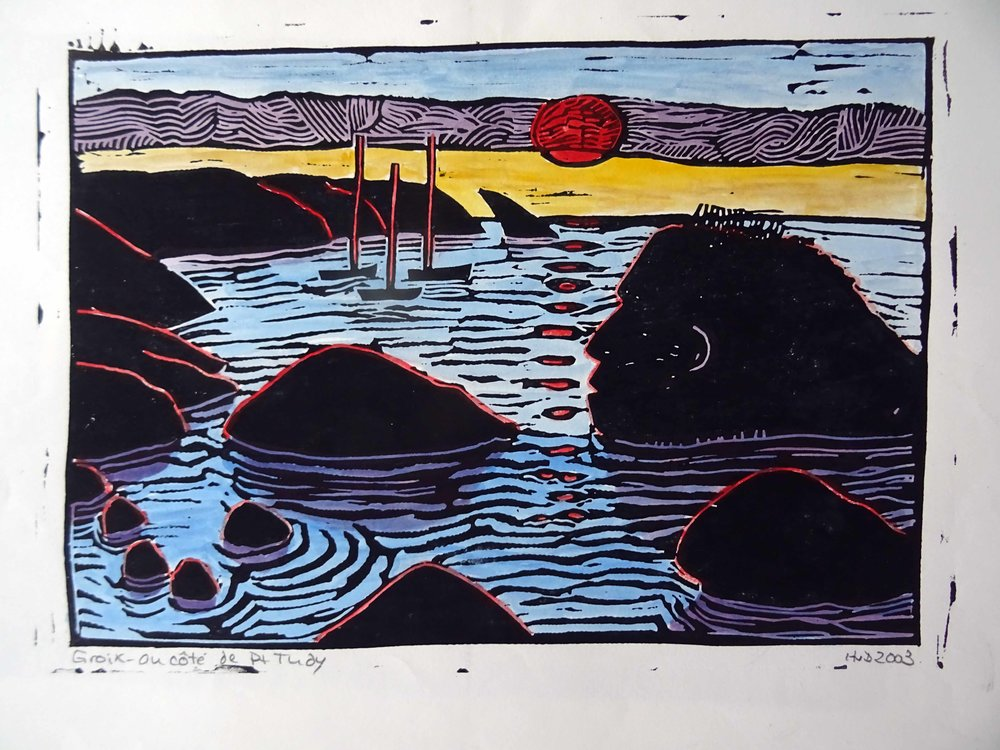 53 - Monstre, coloured lino 21x30 cm, 60 €
