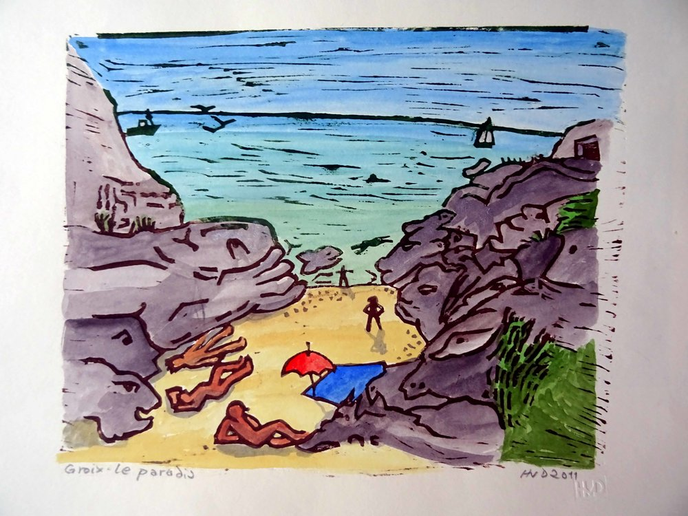 52 - paradis, coloured lino 21x26cm, 60 €