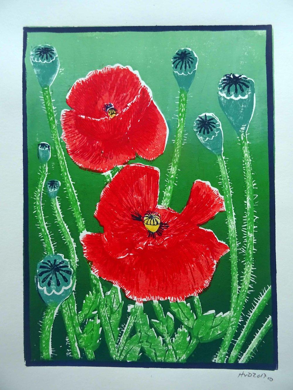 243 - Mohnblumen 3-plate lino 30x21 cm, 70 €