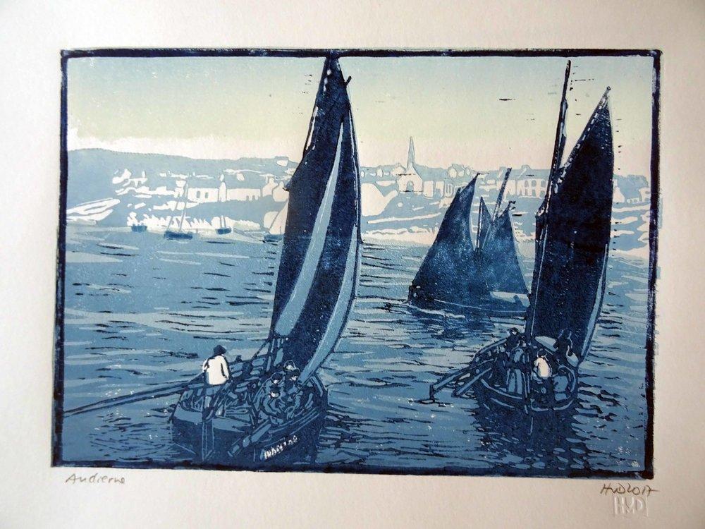 244 - Audierne sardiniers, 3-plate lino 21x30 cm, 70 €