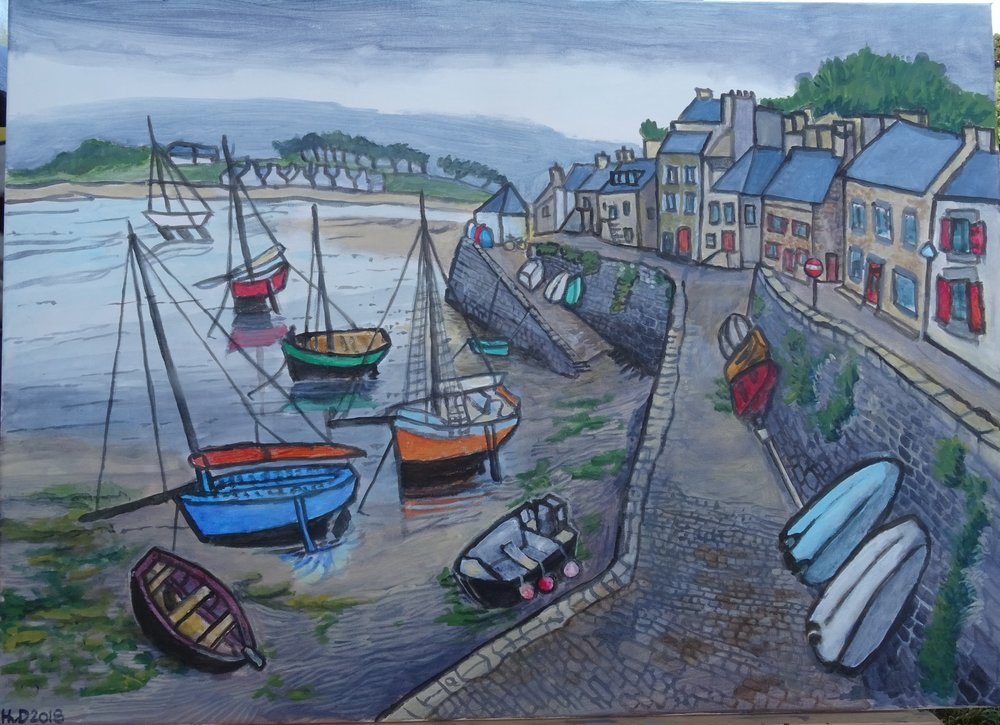 Le Conquet port, acrylic on canvas 50 x 70 cm