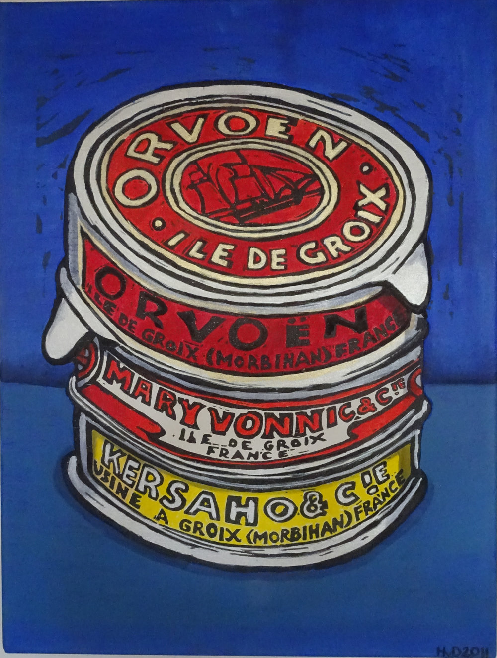 Groix tuna cans, acrylic on canvas 80 x 50 cm