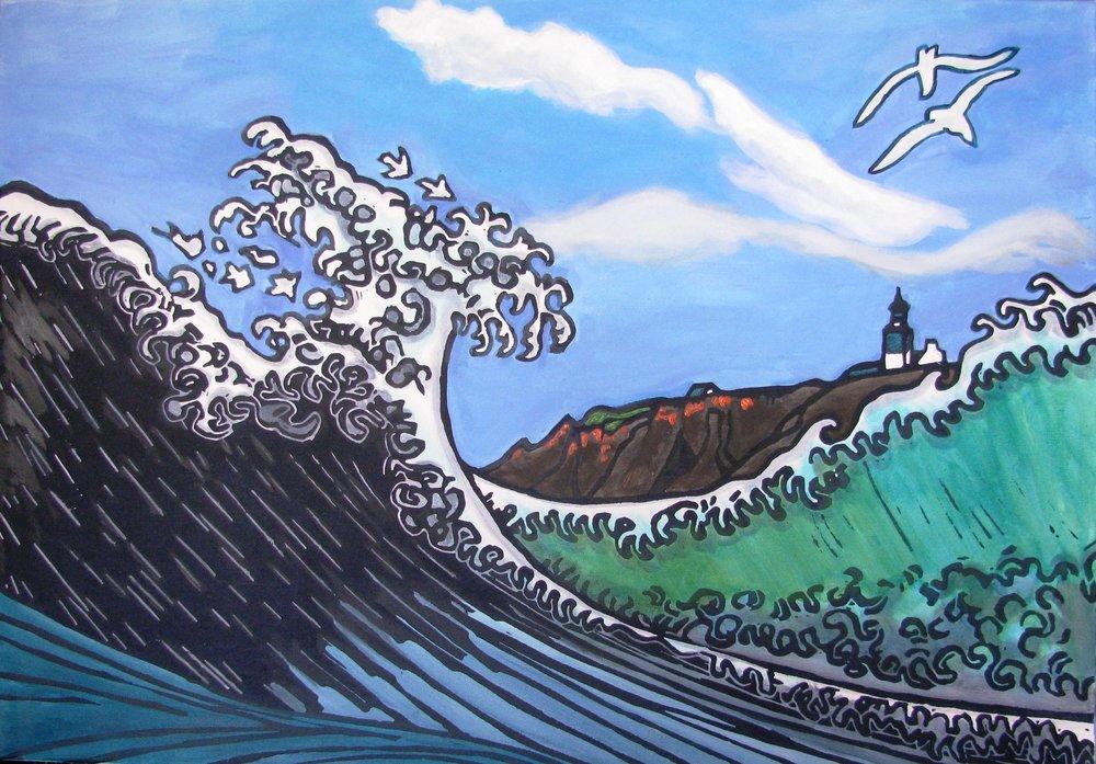Ile de Groix, Hokusai's wave at Pen Men, acrylic on canvas 70 x 100 cm, 400 €