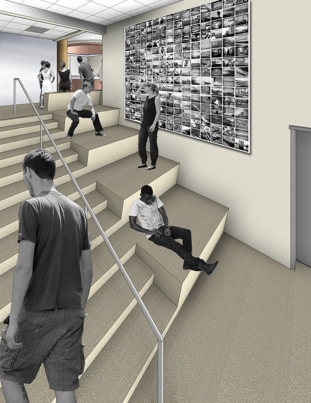 A stairway can easily become an alternate learning space