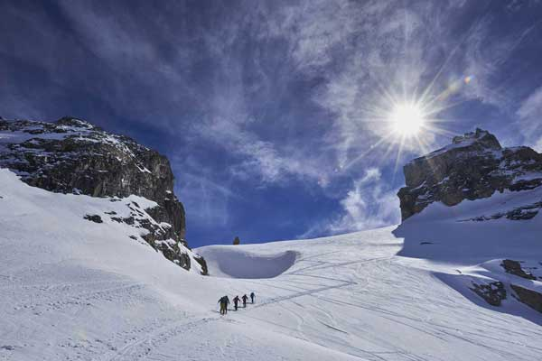 Seeking fresh tracks above Engelberg -