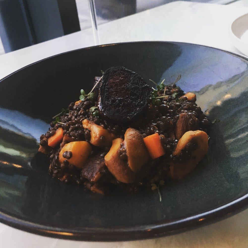 black lentils with seasonal mushrooms