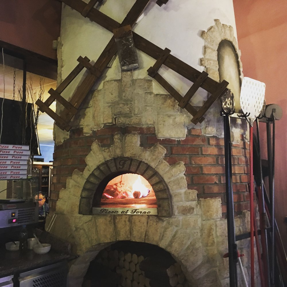 the brick oven that looks like a windmill