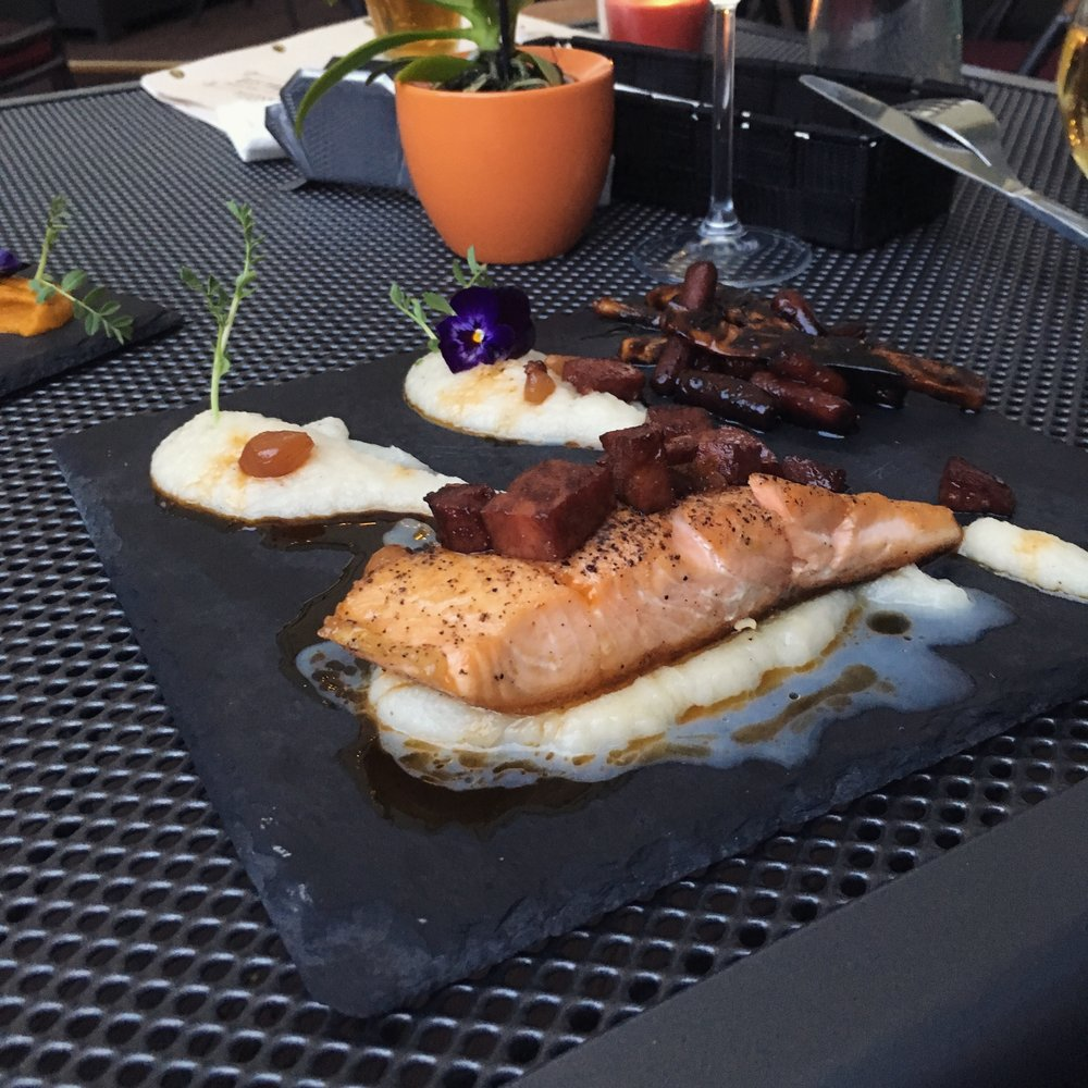 salmon with mashed celery