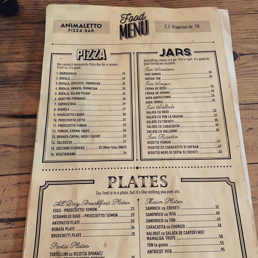 meniu animaletto pizza bar bucuresti