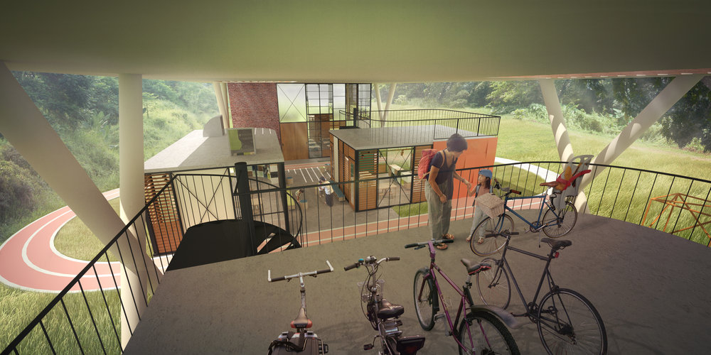 School in the Green Corridor, bicycle drop-off.jpg