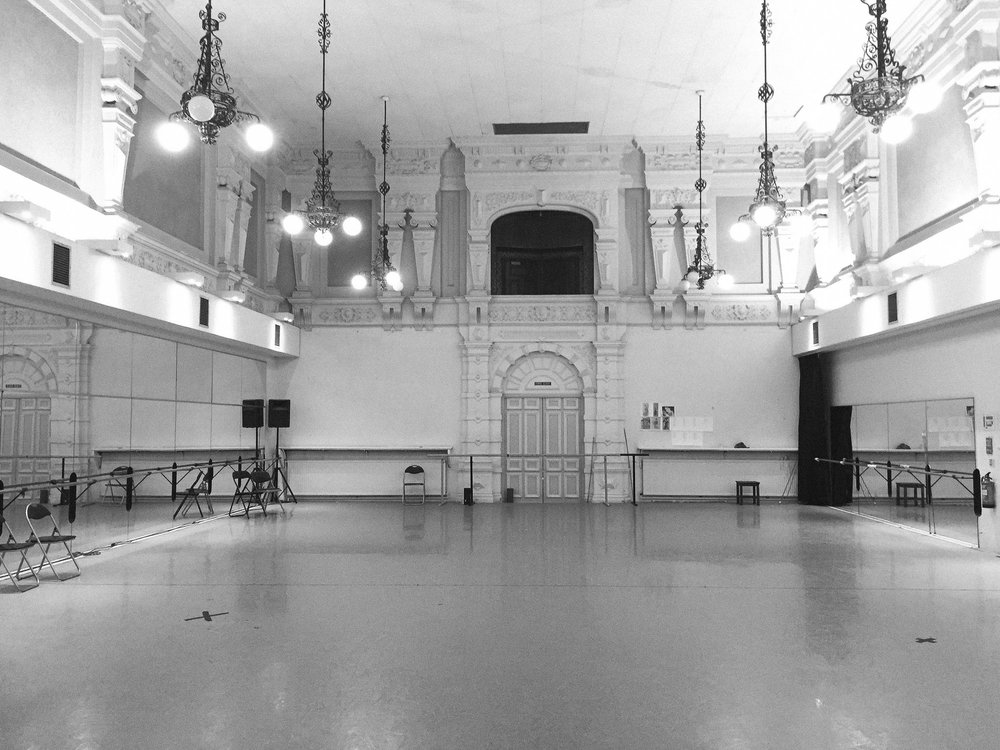English National Ballet empty studio before the photoshoot.