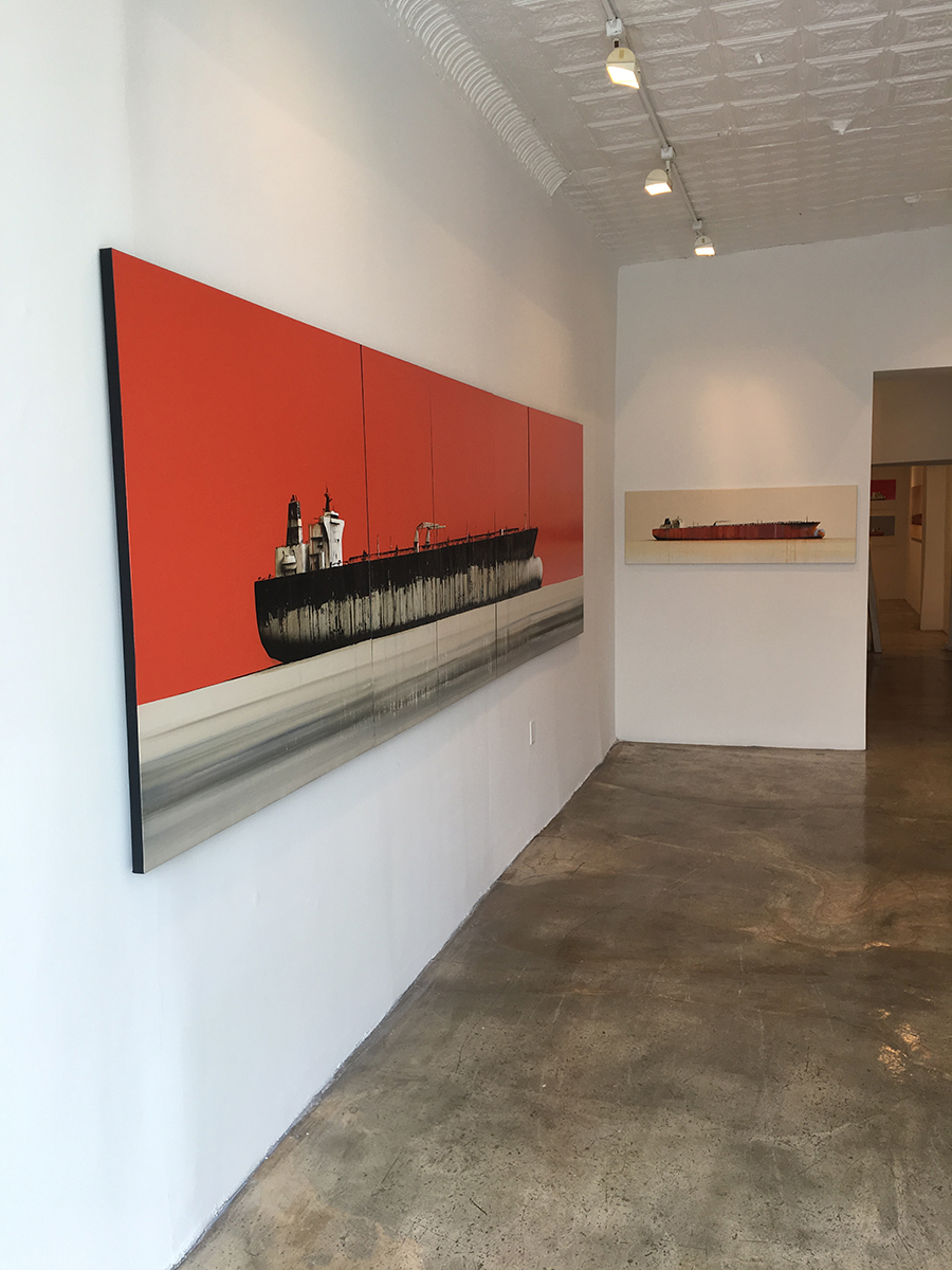 Installation view, Stephane Joannes, Tankers