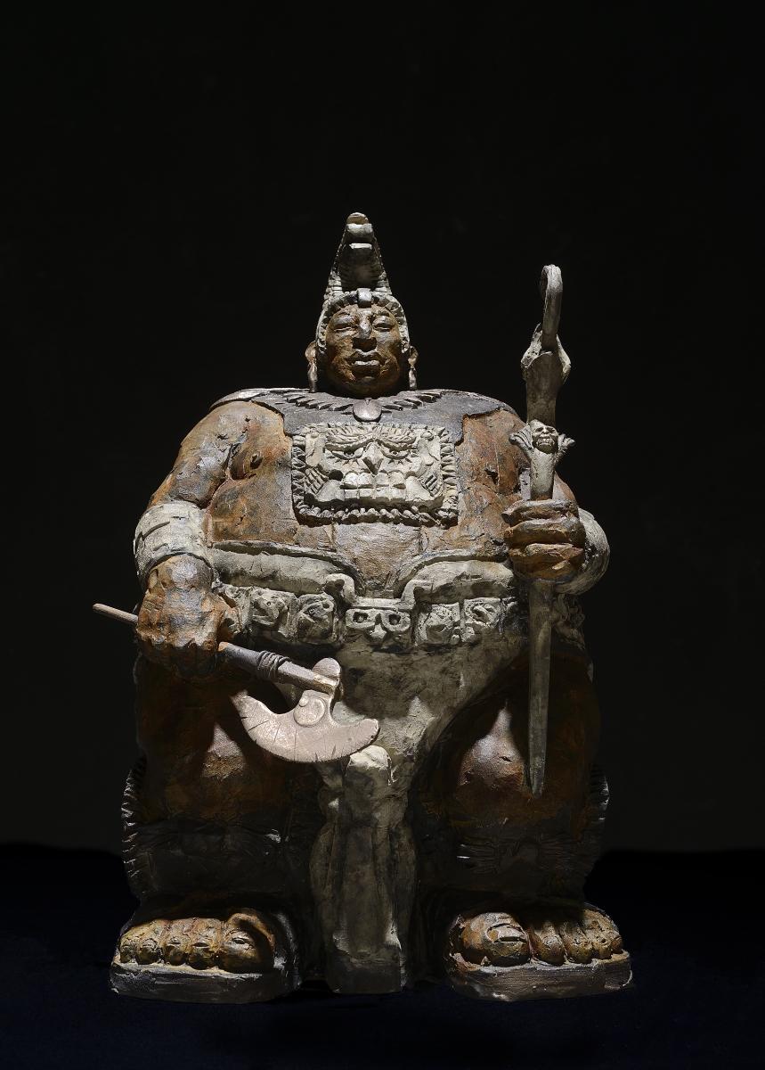 Matteo Pugliese, Mayan Guardian II, 2017, Bronze, 14.17 x 9 x 8.2 inches