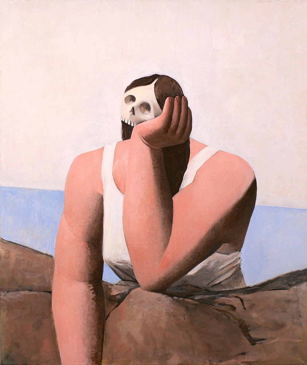 Tony Toscani, Melancholy In White, 2018, Oil on linen, 38 x 32 inches