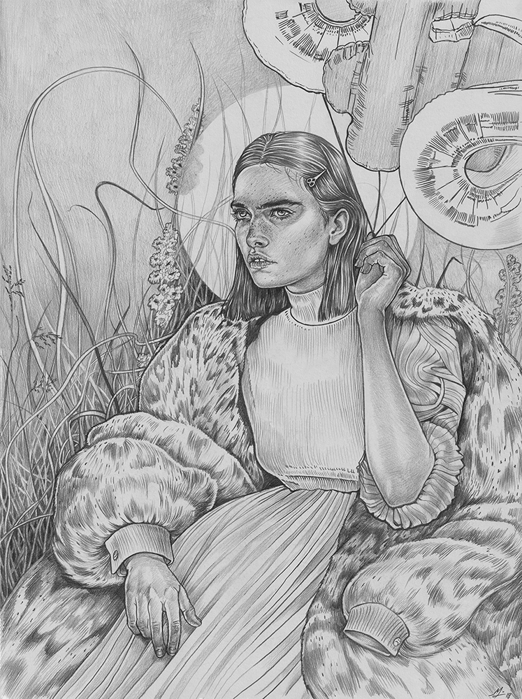 Martine Johanna, Mystical Garden, 2018, Graphite on paper, 20 x 15 inches