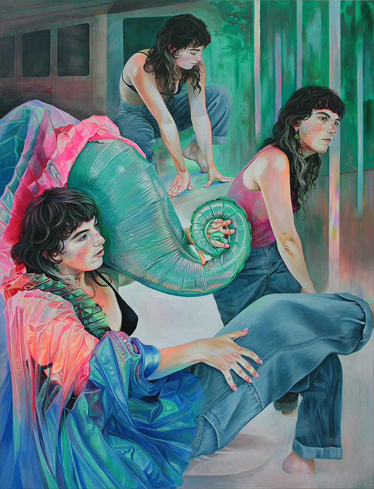 Martine Johanna, The Magic Statues, acrylic painting of three female figures