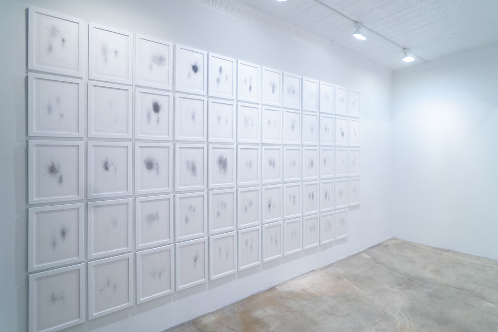 Sarah Irvin, Rocking Chair Series, 2014, 59 framed graphite drawings on paper, series roughly 7.5' x 17'