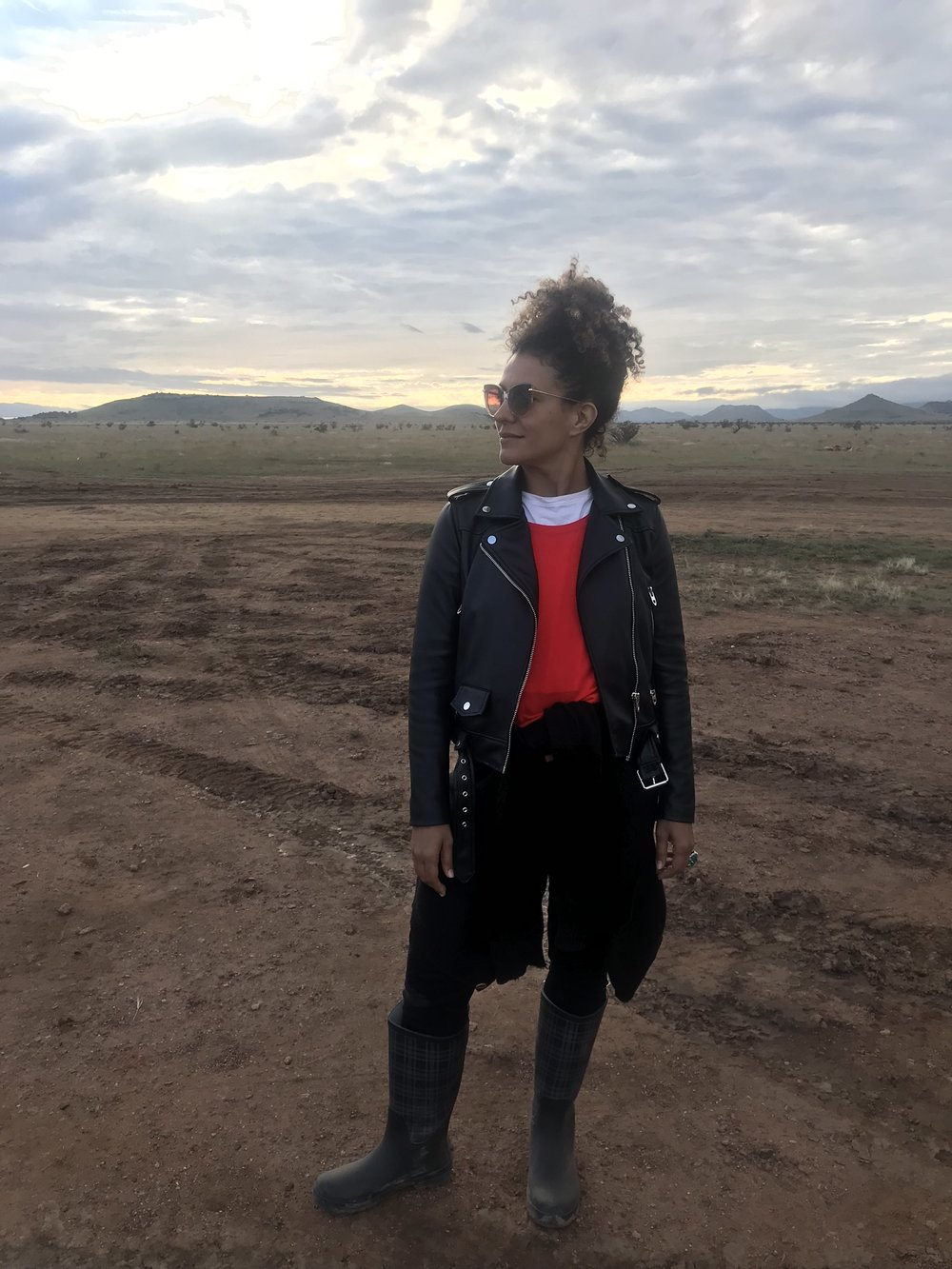 "Maya Taylor on the set of Solange's ""Scales"" performance in Marfa, Texas."
