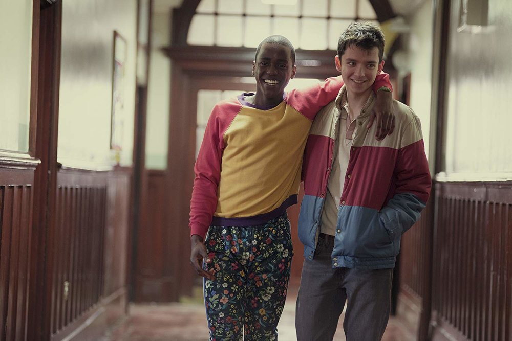 Ncuti Gatwa as Eric Effoing and Asa Butterfield as Otis Milburn in Sex Education. Courtesy of Netflix.