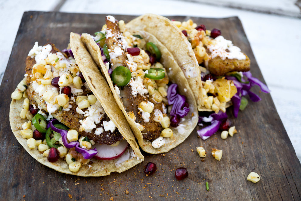 Southern Blackened Fish Taco - with fried corn, old bay aioli and seasonal toppings