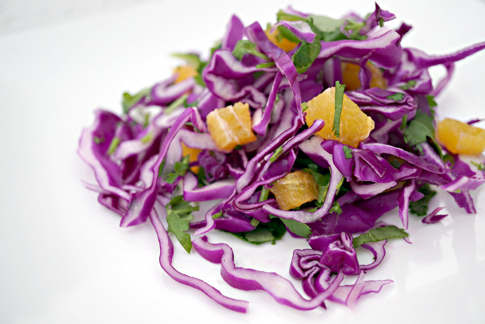 Purple cabbage with tangerines and cilantro. Yum!
