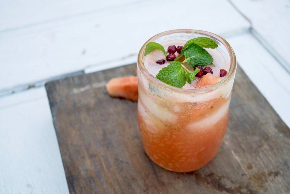 Mexican Watermelon-Mint Fresca - with pomegranate and organic agave syrup