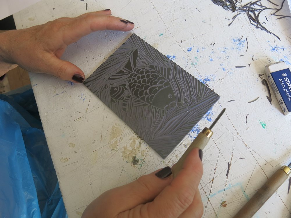 Lino Printing - A series of workshops led by Karen Lewis exploring the process of carving a design into lino and printing it with inks.