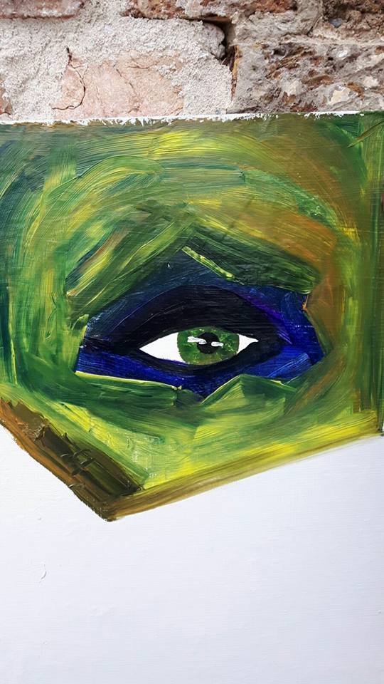 Close up of an eye done at the art class