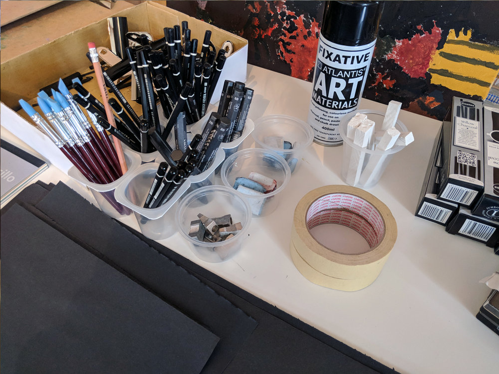 Art equipment ready for Pastels & Pencils Workshop