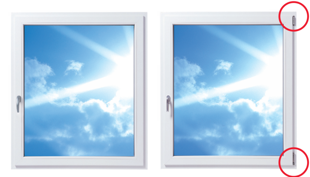 Window with concealed hinges on the left, window with standard hinges on the right