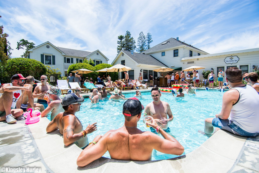 Sunday Pool Soiree 1pm - 4pm   This year we're mixing it up and wtih a REAL SONOMA POOL PARTY located just minutes frrom the Plaza at the beautiful home of our good friends & one of Sonoma's most fabulous couples, who have generously opened their home to our guests.  Spend Sunday Sonoma Style, with a chill afternoon poolside and enjoy the final afternoon of Gay Wine Weekend, lounging and soaking in the warm Sonoma Sun until departure - or extend your stay and keep Gay Wine Weekend going!